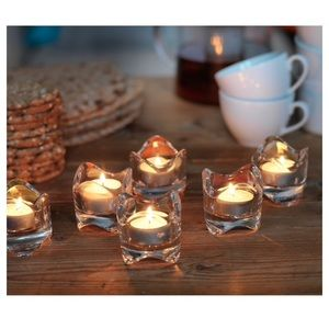 Heavy glass wave tealight jewelry holder set of 2